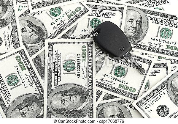 Car Key on 100 dollar background - csp17068776