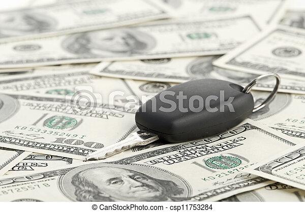 Car Key on 100 dollar background - csp11753284