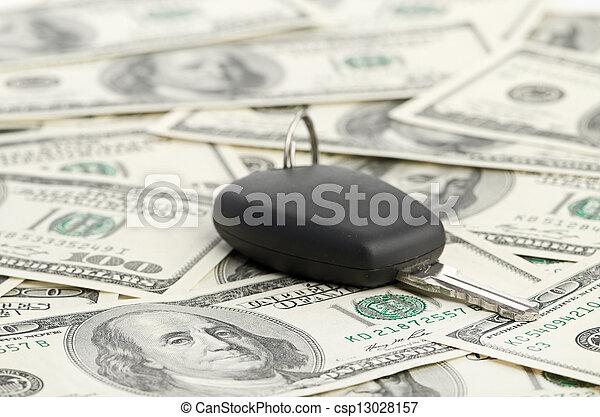 Car Key on 100 dollar background - csp13028157