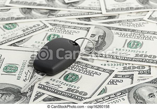 Car Key on 100 dollar background - csp16260158