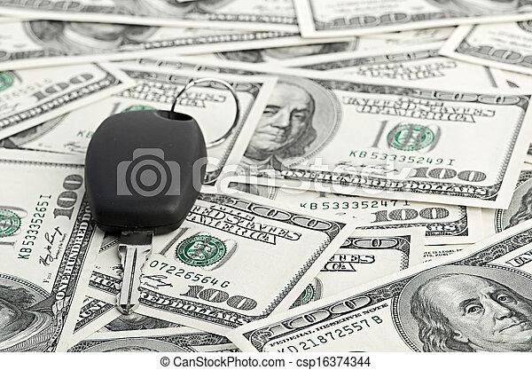 Car Key on 100 dollar background - csp16374344