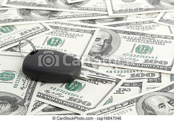 Car Key on 100 dollar background - csp16847046