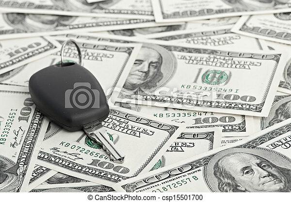 Car Key on 100 dollar background - csp15501700
