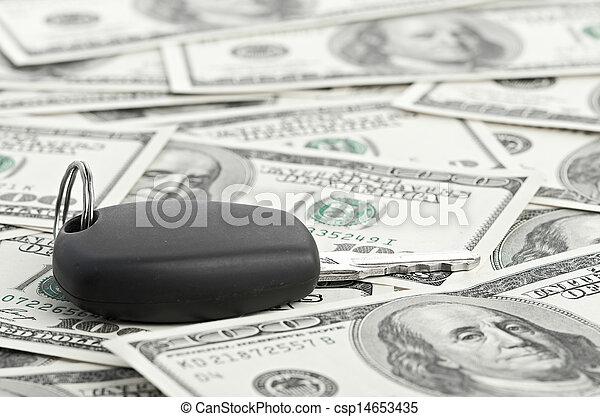 Car Key on 100 dollar background - csp14653435