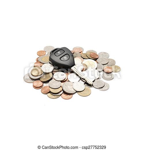 car key on coin - csp27752329