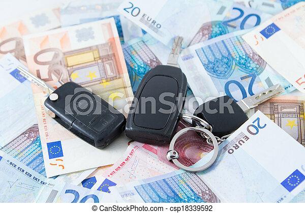 Car key on money background - csp18339592