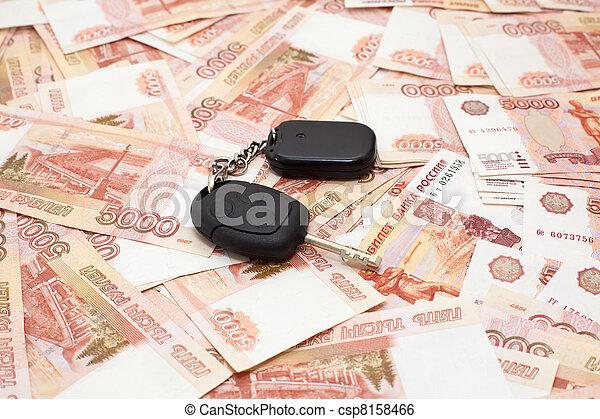 Car key on money cashnotes background - csp8158466