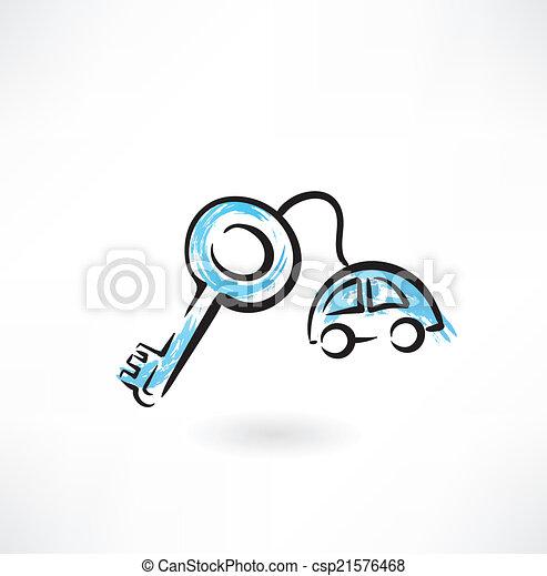 car keys grunge icon - csp21576468