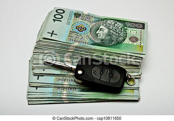 Car keys on a generous pile of money - csp10811650
