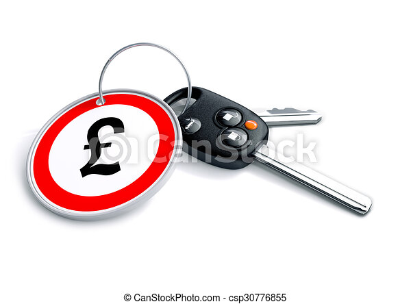 Car Keys With Keyring And British Pound Sterling Currency Symbol