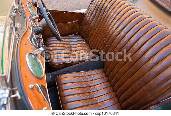Car Leather Seats Old Vintage Seat Detail Horizontal