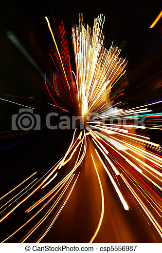 Car lights in motion blur with zoom effect - csp5556987