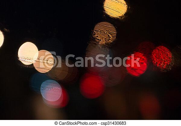 Car Lights in Rain - csp31430683