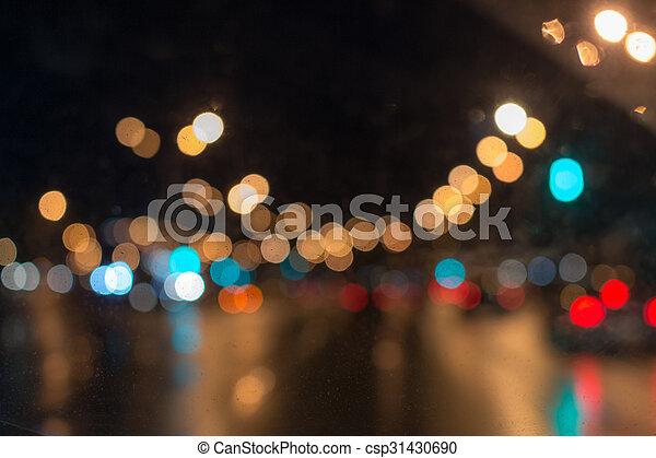 Car Lights in Rain - csp31430690