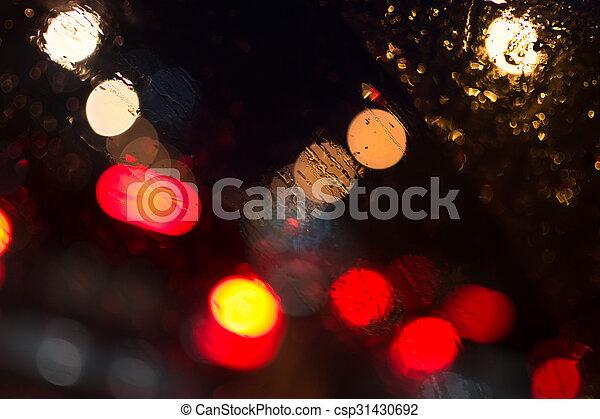 Car Lights in Rain - csp31430692