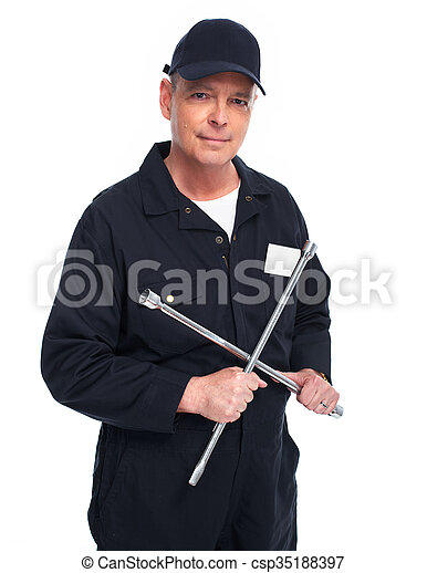 Car mechanic with a wrench. - csp35188397