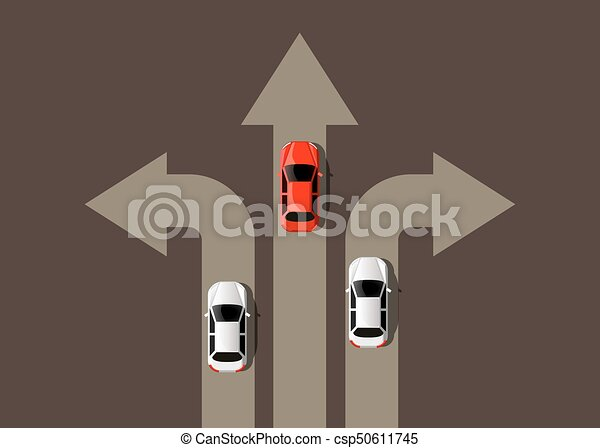 Car moving in different directions. Leader concept. Way to success. - csp50611745