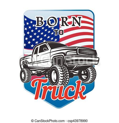 car off-road 4x4 suv emblem, badge born to - csp43978990