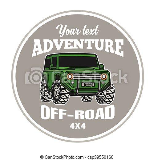 car off-road 4x4 suv trophy truck logo poster - csp39550160