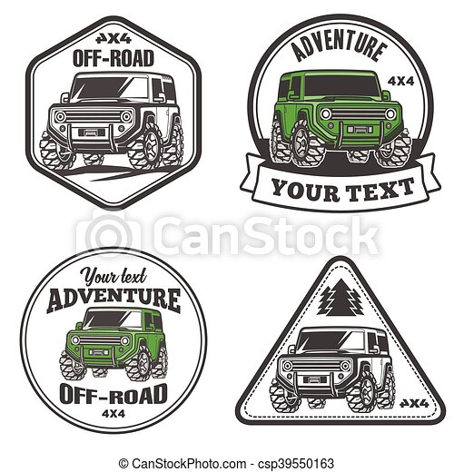 car off-road 4x4 suv trophy truck logo template set - csp39550163