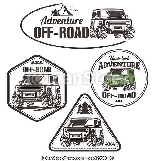 car off-road 4x4 suv trophy truck logo set - csp39550159