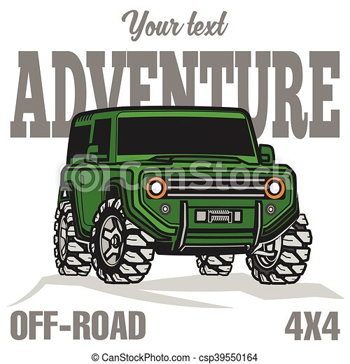 car off-road 4x4 suv trophy truck poster colored - csp39550164