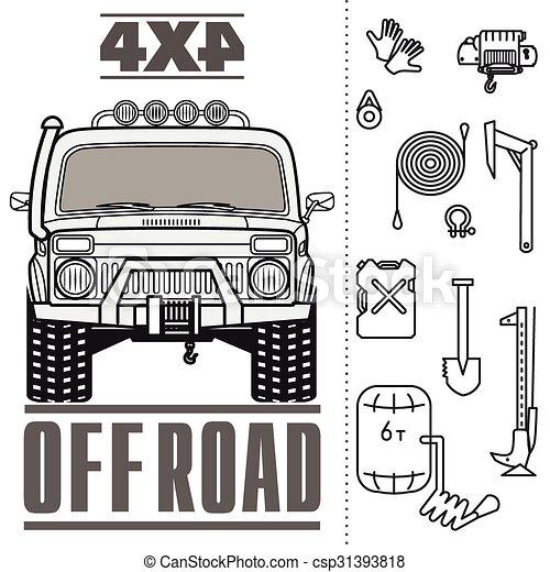 Car off road 4x4 truck icon set - csp31393818