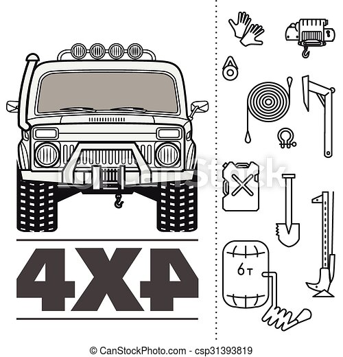 Car off road 4x4 truck icon set - csp31393819