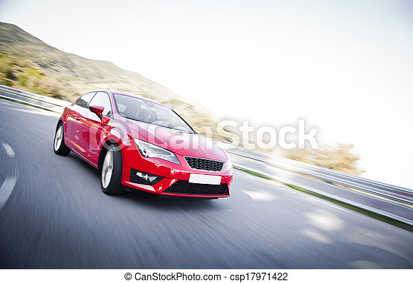 Car on a road full of dangerous bends - csp17971422