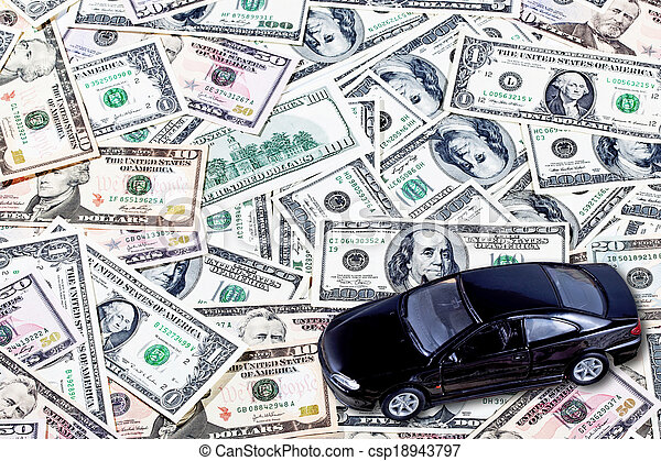 Car on money background - business concept - csp18943797