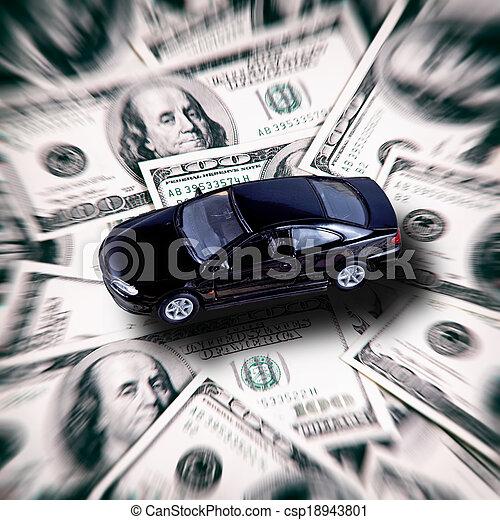 Car on money background - business concept - csp18943801