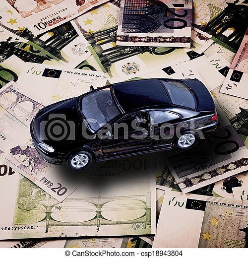 Car on money background - business concept - csp18943804