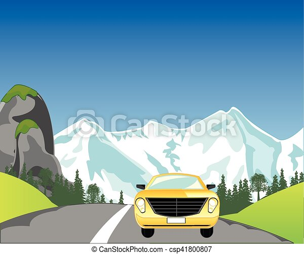 Car On Mountain Road Vector