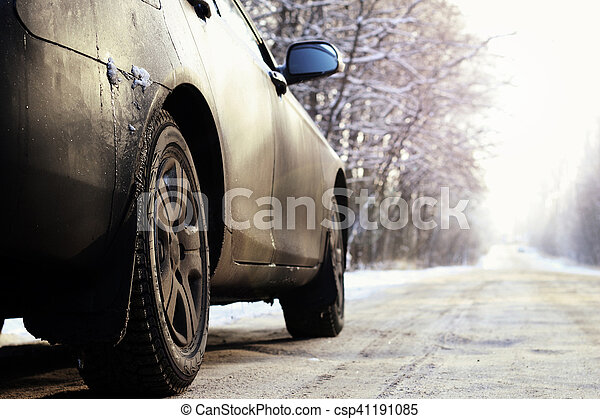 car on the road in winter - csp41191085