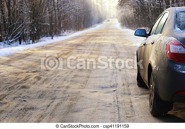 car on the road in winter - csp41191159