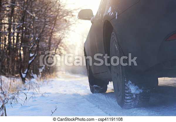 car on the road in winter - csp41191108