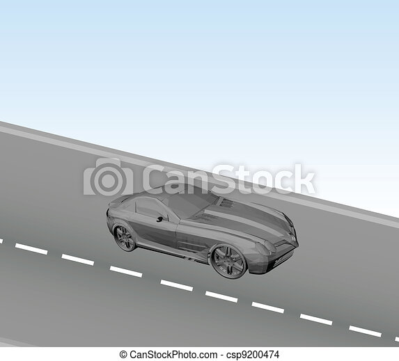 Car on the road. Vector - csp9200474