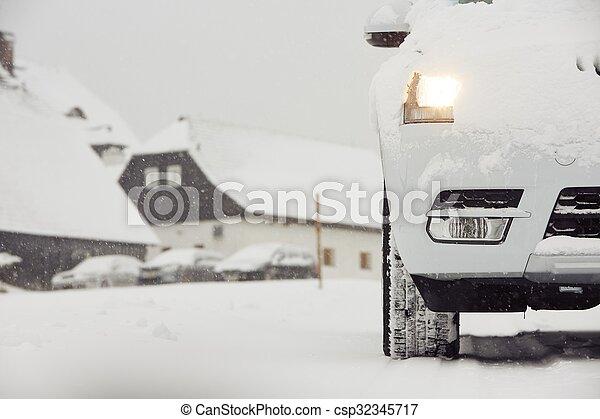 Car on winter road - csp32345717