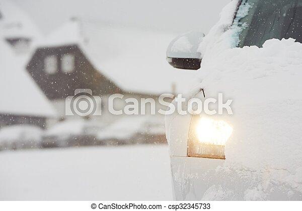 Car on winter road - csp32345733
