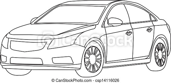 Delightful Car Outline Vector