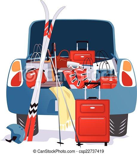 Car packed for a ski trip - csp22737419