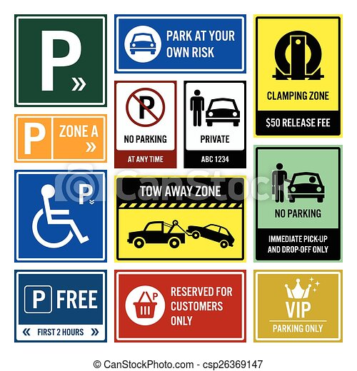 Several Pictures of Parking Lot Signs