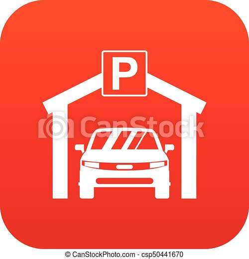 Car Parking Icon Digital Red For Any Design Isolated On Vectors