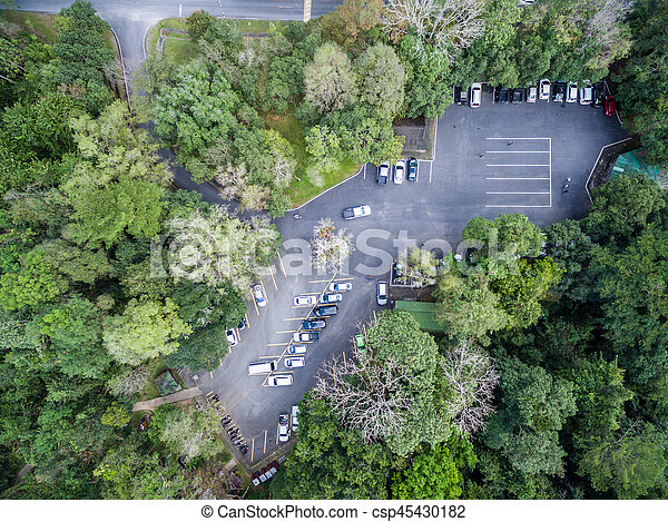 car parking in forest, shallow depth of focus, top or aerial view background - csp45430182