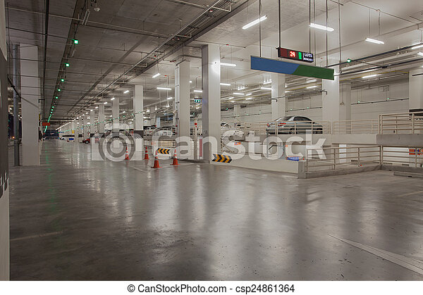 car parking lot available in side carpark building with red and  - csp24861364