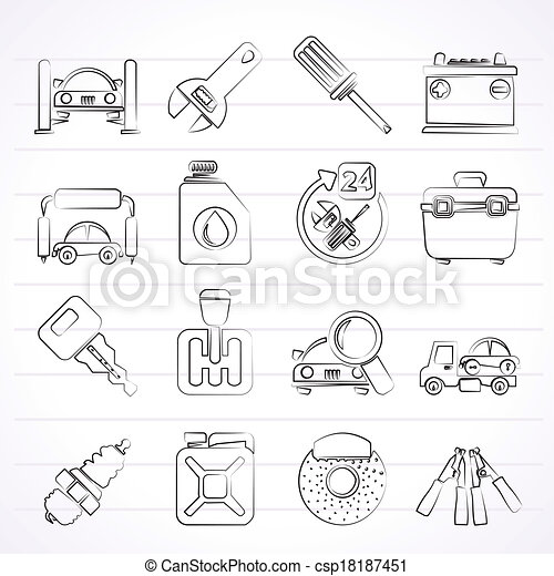 Car parts and services icons - csp18187451