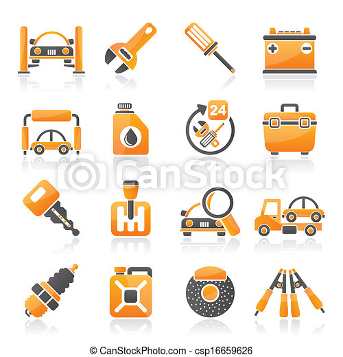 Car parts and services icons - csp16659626
