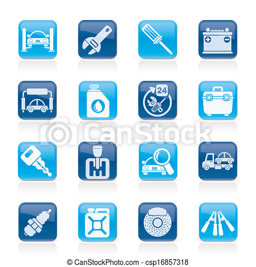 Car parts and services icons - csp16857318