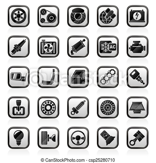 Car parts and services icons - csp25280710
