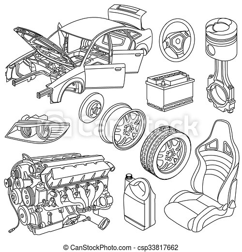 Car parts icons isometric vector.